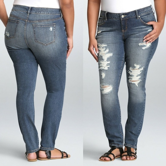 torrid Denim - Torrid Skinny Jeans Medium Wash Destruction HW7092